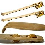 Rückenkratzer Bambus mit Massagerollen ca. 46cm lang Rücken Kratzer Wellness